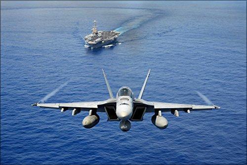 Fa 18e Super Hornet (24x36 Poster; Fa-18E Super Hornet F-18 Demo Near Uss John C. Stennis (Cvn 74))