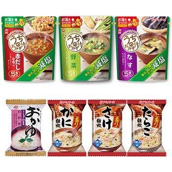 Amanofuzu liofilizado gachas gachas cuatro de 16 comidas y bajo contenido de sal sopa de miso