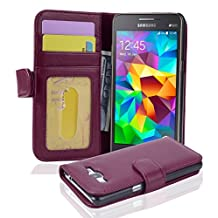Cadorabo - Book Style Wallet Design for Samsung Galaxy GRAND PRIME (G5308W) with 3 Card Slots - Etui Case Cover Protection Pouch Skin in BORDEAUX-PURPLE