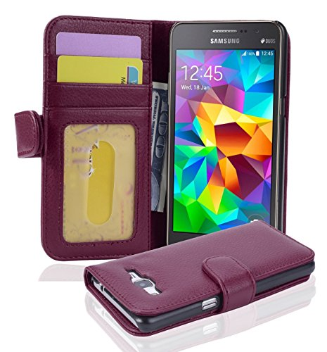 Cadorabo Book Case Works with Samsung Galaxy Grand Prime in Bordeaux Purple - with Magnetic Closure and 3 Card Slots - Wallet Etui Cover Pouch PU Leather Flip