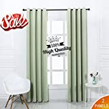 MiddmyCentury Blackout Curtains,Thermal Insulated Sheer Drapes Panels Liner with Grommet Window Curtain for Bedroom Living Room 3 year warranty(Set of 2,52×95 inch,Green)