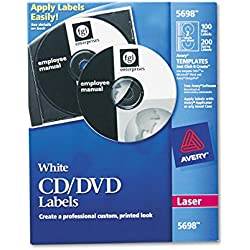 Avery CD Labels for Laser Printers, White, 100 Disc Labels and 200 Spine Labels (5698)