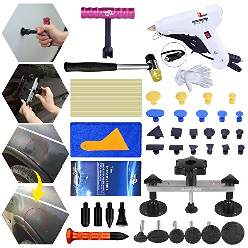 Fly5D Home Use DIY Power Hot Glue Gun Dent Repair Removal Puller Tools Kit for Auto Car Pops a Dent Pull Out Hail Damage (Best Glue For Car Bumper)