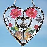 Stained Glass Suncatcher for Windows Sister Heart Love Suncatcher with Pressed Flower Heart - Heart Suncatcher - Sister Gifts Gift for Sister's Day