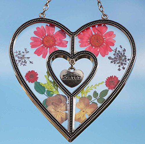 Stained Glass Suncatcher for Windows Sister Heart Love Suncatcher with Pressed Flower Heart - Heart Suncatcher - Sister Gifts Gift for Sister's Day by Tiffany Lamp & Gift Factory