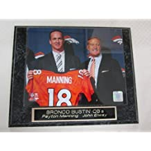 Peyton Manning John Elway DENVER BRONCOS Collector Plaque w/8x10 Photo