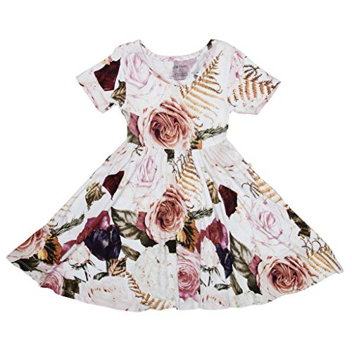 PoshPeanut Baby Twirl Dress - Infant Girl Clothes - Viscose from Bamboo (Black Rose, 18-24 Months) ()