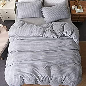 PURE ERA Bedding Duvet Cover Set Super Soft Comfy Cotton Jersey Knit Including 1 Comforter Cover 2 Pillow Shams Grey White Striped Design Queen