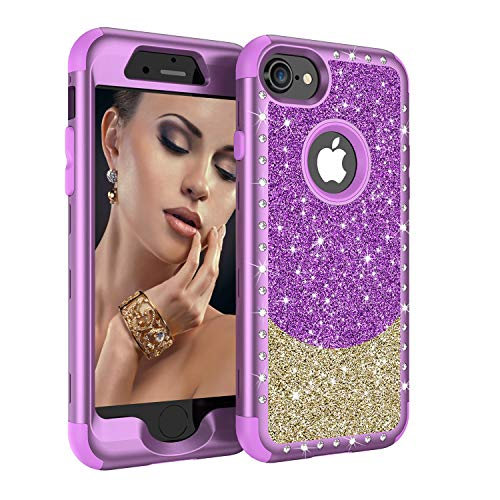 iPhone 8 Case, iPhone 7 Case, UZER Three Layer Shockproof 3D Handmade Luxury Hybrid Beauty Crystal Rhinestone Glitter Sparkle Bling Diamond Hard PC Soft Silicone Combo Case for iPhone 8 /iPhone 7 4.7