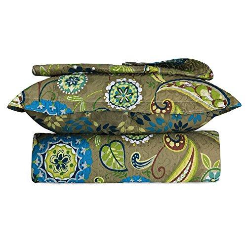 Beauty Bedding Olive Floral Pattern 3 Piece Bed Quilt Set - (KING, (3 Piece Set Bed)