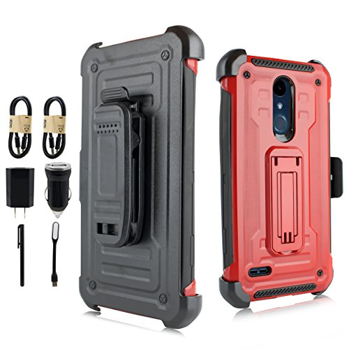 For Samsung Galaxy J3 (2018), J3 Achieve, J3 Star, Sol 3, Express Prime 3, Amp Prime 3, J3 V J3V 3rd Gen J337 - Holster Case w/Stand/Belt Clip [Value Bundle] (Red)