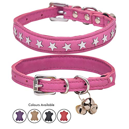 Ultra Soft Real Lamb Leather Star Charm Studded Cat Collar with Break Away Safety Elastic Embellished with Detachable Handcrafted Indian Bells (One Size, Pink)