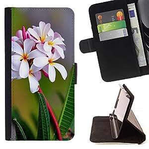 Momo Phone Case / Flip Funda de Cuero Case Cover - Flores blancas;;;;;;;; - Samsung Galaxy S6 EDGE