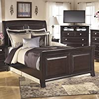 Ashley Ridgley Wood Queen Sleigh Panel Bed in Dark Brown