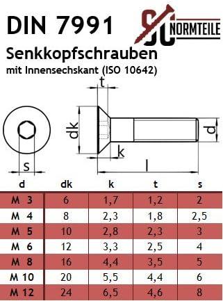 SC-Normteile/® SC7991 Senkkopfschrauben mit Innensechskant - DIN 7991 // ISO 10642 10 St/ück Vollgewinde Senkschrauben - M5x20 - ISK Werkstoff: Edelstahl A2 V2A