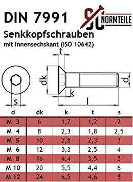 Senkkopfschrauben mit Innensechskant Vollgewinde - DIN 7991 // ISO 10642 Senkschrauben ISK SC7991 Werkstoff: Edelstahl A2 V2A 25 St/ück SC-Normteile/® - M10x60 -
