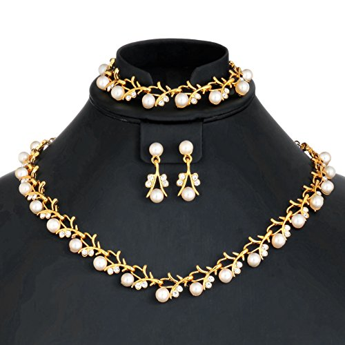MOOCHI 18K Gold Plated White Simulated Pearls Crystal Twig Pattern Jewelry Set