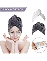 2 Pack Hair Towel Wrap Turban Microfiber Drying Bath Shower Head Towel with Buttons, Quick Magic Dryer, Dry Hair Hat, Wrapped Bath Cap By Duomishu (White & Gray)