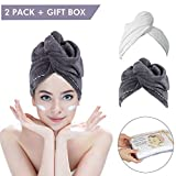 Bleaching Your Hair White - 2 Pack Hair Towel Wrap Turban Microfiber Drying Bath Shower Head Towel with Buttons, Quick Magic Dryer, Dry Hair Hat, Wrapped Bath Cap By Duomishu (White & Gray)