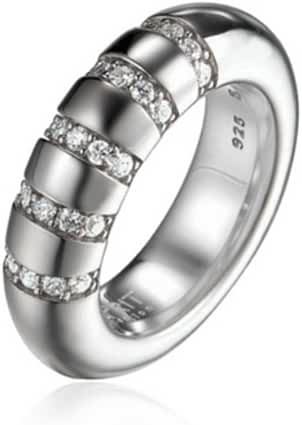 ESPRIT Women's Ring 925 Sterling Silver Rhodium Plated Crystal Zirconia Perimagnau Lines White 56 P 1/2 white