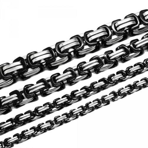 Soul-Cats®Collier de chaîne byzantin ou bracelet serti en acier inoxydable, différentes longueurs et forces