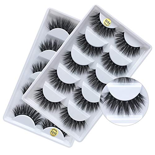 3D Real Mink False Eyelashes, Handmade Reusable Mink Lashes, Luxurious Wispy Natural Cross Thick Long Lashes, 2 Boxes/10 Pairs - Full Faux Eyelashes