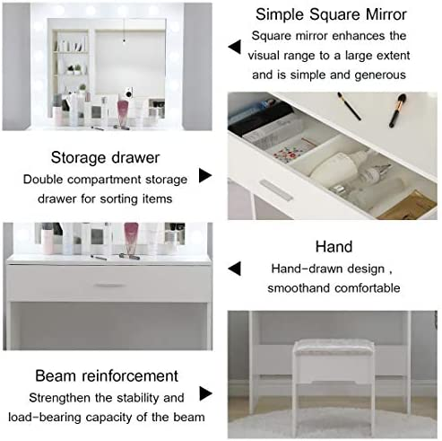 51cBeMjH1iL. AC Vanity Set with Lighted Mirror, Makeup Vanity Dressing Table Dresser Desk with Large Drawer for Bedroom, Walnut Bedroom Furniture(12 Cool LED Bulbs) (White, A)    Product description