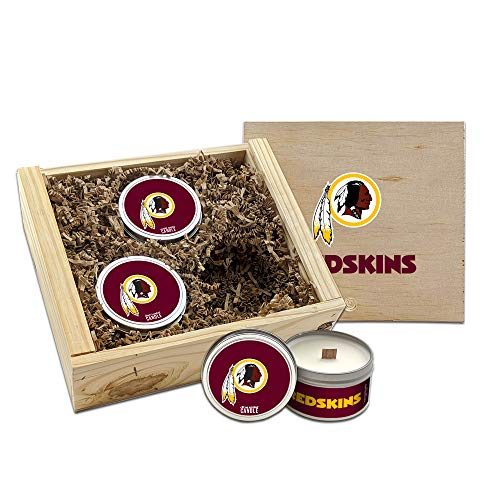Worthy Promo NFL Scented Candles Gift Set in Wood Box (Washington Redskins)