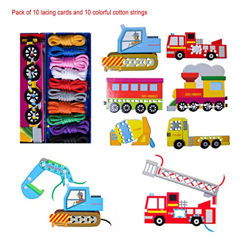 BabyPrice Early Development Toys --- Vehicles Lace and Trace Activity Set: 8 Lacing Cards and 10 Matching Laces for Fine Motor Skills