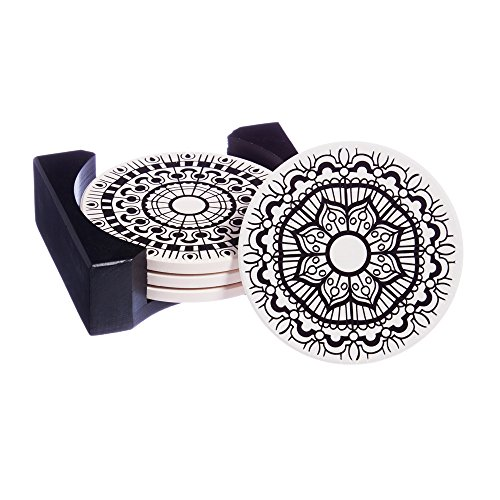 Cypress Home Mandala Coloring Book Inspired Ceramic Coaster Set with Caddy