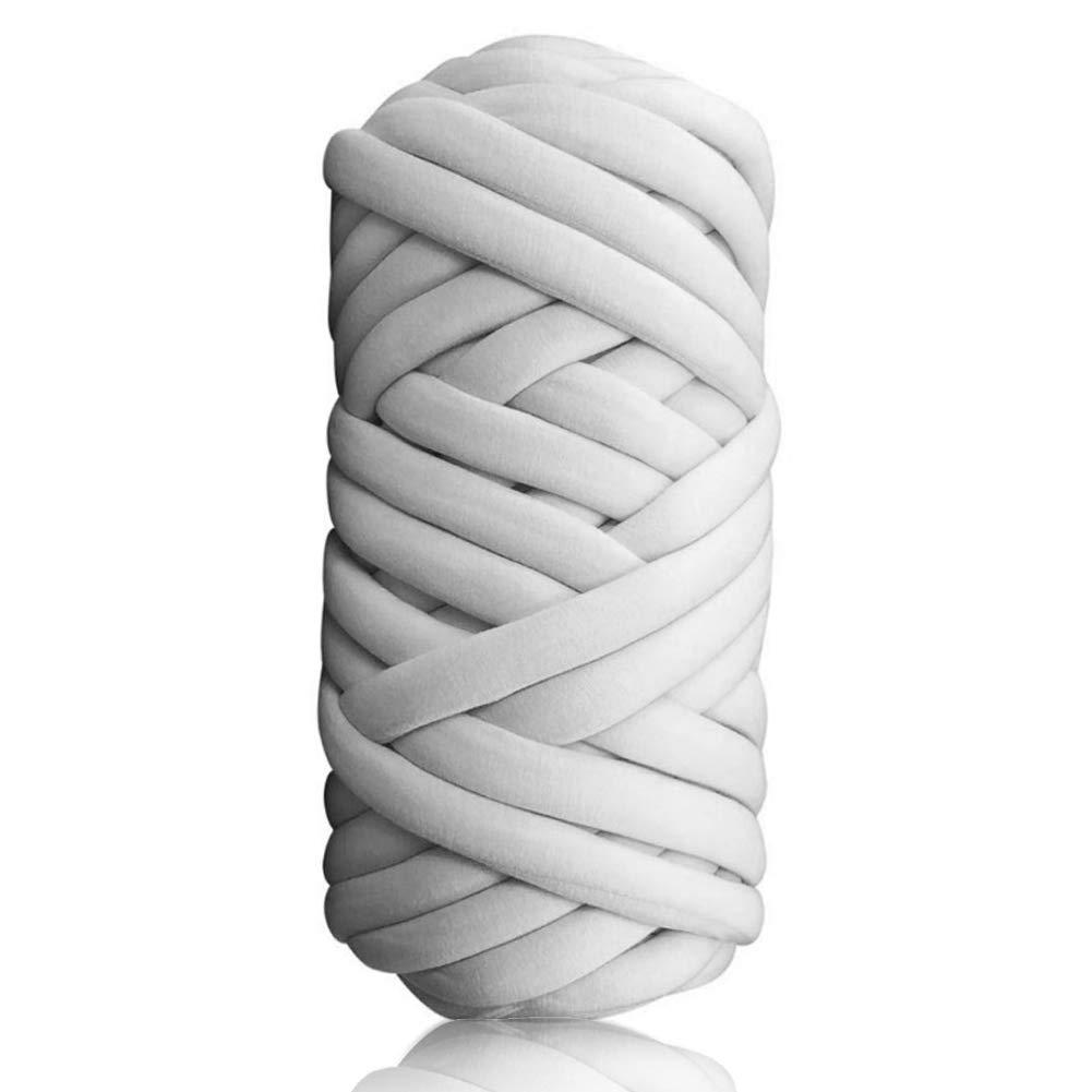 LianLe Manual Woven Felting Giant Wool Roving Yarn, Handmade DIY 4 Colors Core Yarn for Needle Felting Hand Spinning (Light Gray 60m)