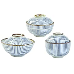 """Product Information Material : clay Size: Big cover bowl Dia: 5.9"""" * H: 2.9''; Medium cover Dia: 5.5"""" * H: 2.3''; small cover Dia: 3.9"""" * H: 2.55''. Microwave,oven, dishwasher and freezer safe. Simple Style theme Bowls SANFEN is dedicated to ..."""