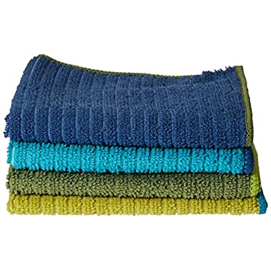 Ritz Microfiber 12 by 12-Inch Dish Cloth with Poly Scour Side, Assorted Blue/Green, 4-Pack