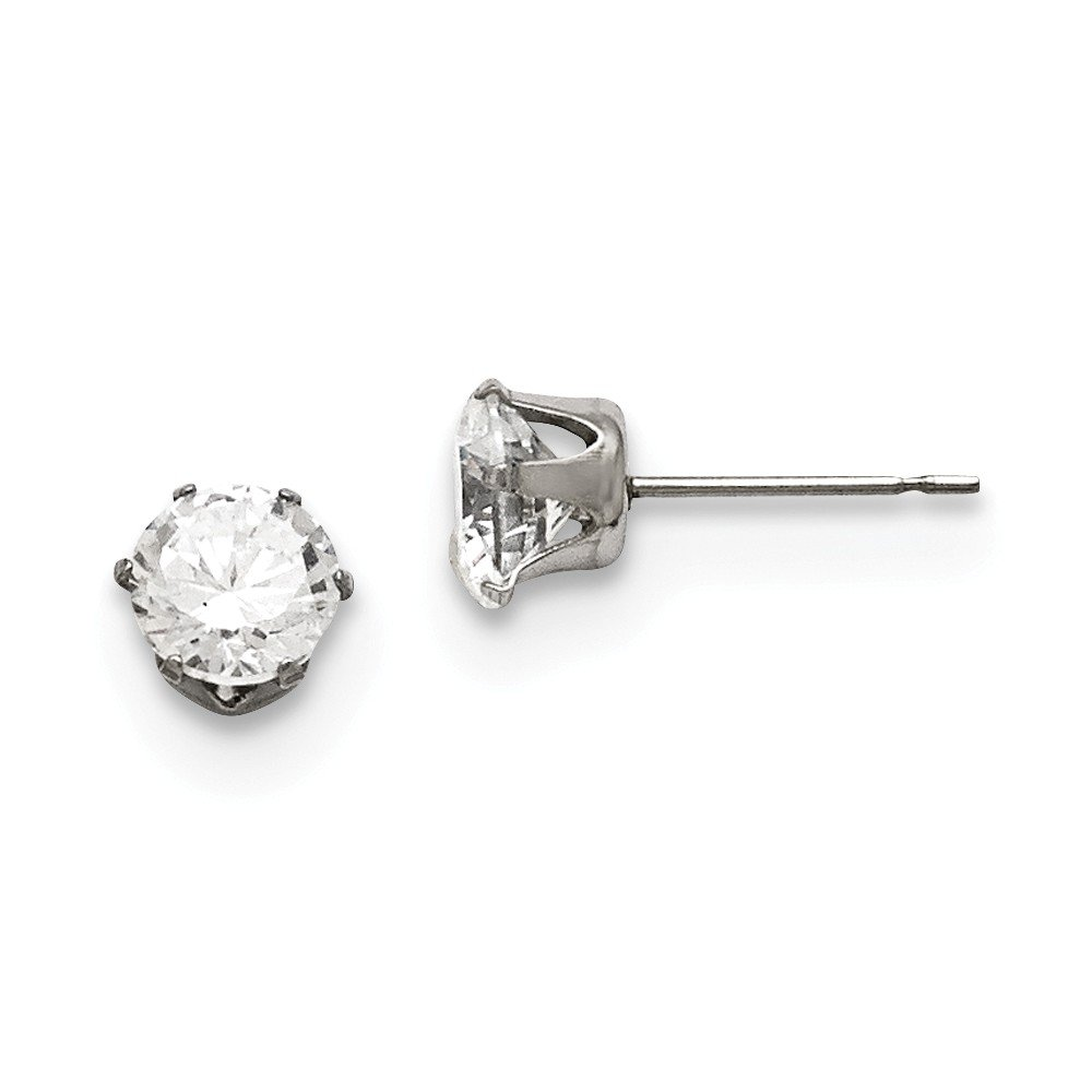 Top 10 Jewelry Gift Stainless Steel Polished 7mm Round CZ Stud Post Earrings