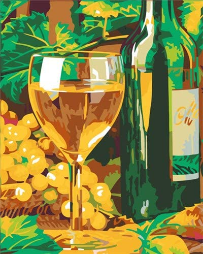 Zhonchng Copa de Cerveza de Planta Verde 50*40cm Sin Marco Principiante artesanía Infantil Pintura al óleo Digital Pintada a Mano Pintura Pigmento Lienzo Kit de Pincel para Adultos DIY Dibujo creativ