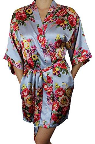 - Women's Satin Floral Kimono Short Bridesmaid Robe W/Pockets - Grey XS/S