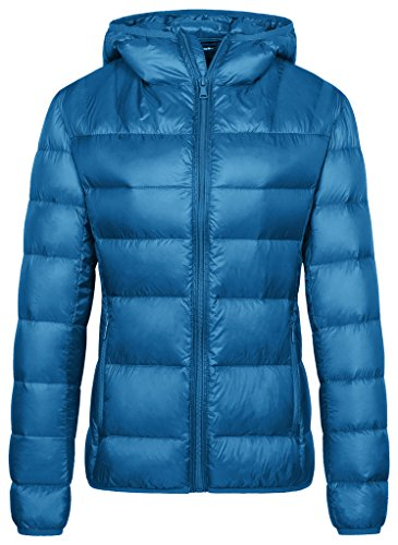Wantdo Women's Packable Down Jacket Lightweight Puffer Coat Acid Blue M