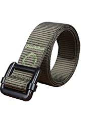 Yacn Green Men Tactics Duty Nylon Web Belt for Men1.57'' Wide with Military Silvery Buckle