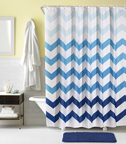 Dolii Blue Ombre Chevron Shower Curtain 100% Polyester Silky Fabric Resistant Printed Bathroom Curtains with Hooks(Prismatic Wave,72