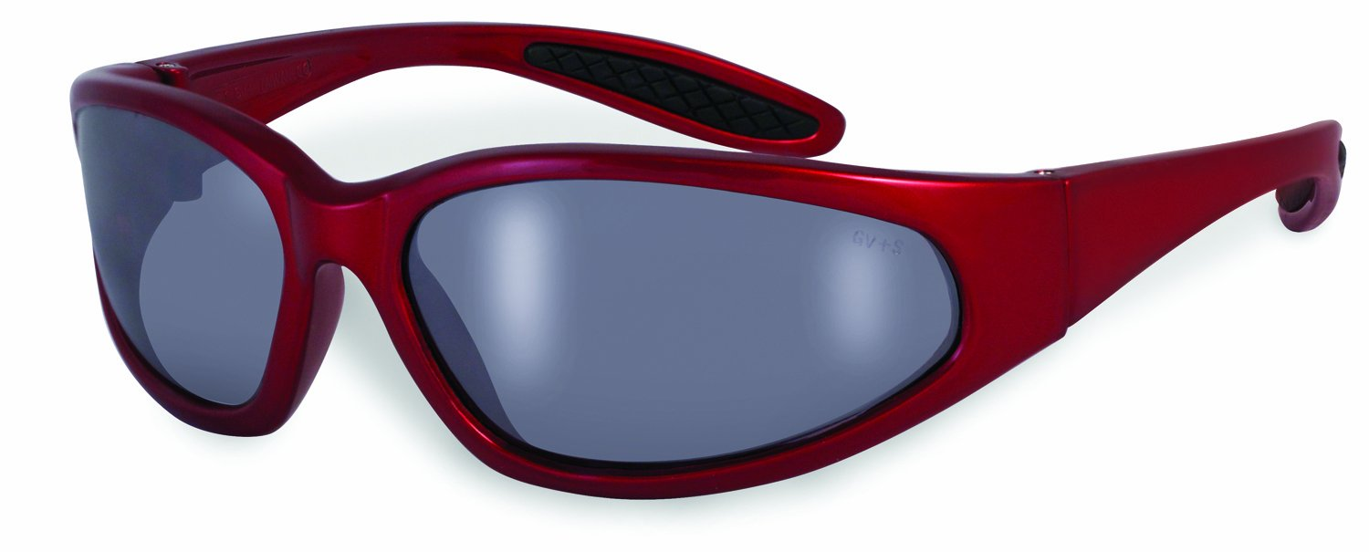 SSP Eyewear Safety Glasses with Red Frames and Silver Mirrored Shatterproof Lenses, NACHES RED M