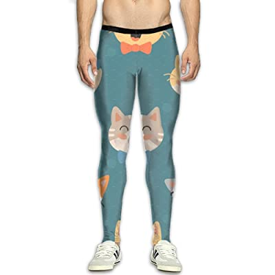 MSYGP Cat Smile Glasses Animals Compression Pants Men Unique Tights Leggings Running Gym Tights For Men