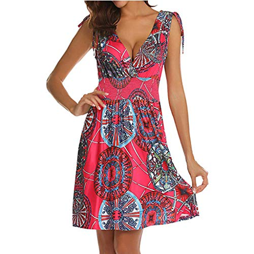 (DondPo Women's Dress Sleeveless Low Cut V Neck Backless Tunic Top Boho Floral Printed Casual Pockets Midi Sun Dresses Hot Pink)