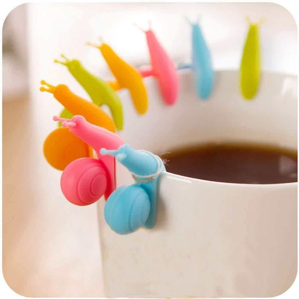 Suspendus Thé Sac Nouveau Mignon Coloré Escargot Forme Silicone Titulaire Tasse Tasse Couleurs De Bonbons Cadeau Set (12 pcs) SwirlColor