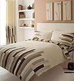 Gaveno Cavalia Luxury BLOCKS Duvet Set With Duvet Cover and Pillow Case Cream/Brown Double