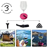 Outdoor Wine Glass Holder by Bella D'Vine – 3 Attachments include Lawn Wine Stake For Picnics, Suction Base For Boats and Hot Tubs, Strap For Patio Chairs or Rails – Fun Wine Gift – Fuchsia