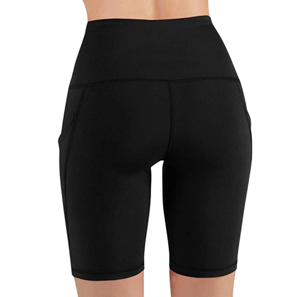 yoyorule Casual Pants Women High Waist Out Pocket Yoga Short Running Athletic Yoga Shorts Pants