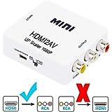 HDMI to RCA 変換コンバーター CANEOV HDMI入力→RCA出力 HDMI to AV コンポジット HDMIからアナログに変換アダプタ 高品質1080P 対応 ドライバ 必要なく USBケーブル付き Xbox PS4 PS3 など対応 (白)