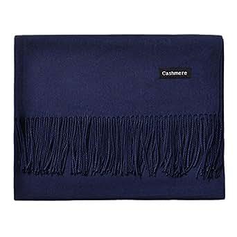 L'vow Women's Soft Cashmere Blend Evening Scarves Pashmina Cape Shawl Wraps Stole (Navy)