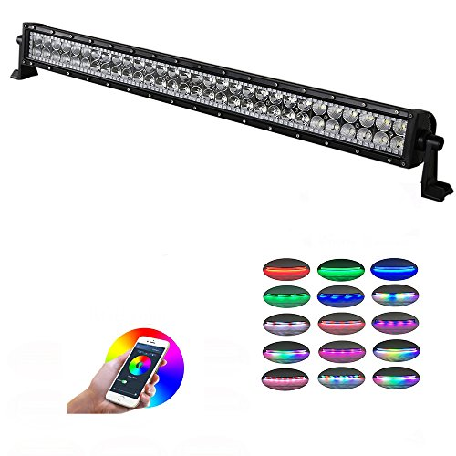 Nicoko 32inch 180W Combo Beam Led light bar with RGB Chasing Bluetooth Controlled over 300 modes color changing Off Road Light Bar for Jeep Cabin Boat SUV truck Car ATVs - Shipping Time Average Fedex