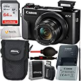 Canon PowerShot G7 X Mark II Digital Camera (Black) with Starter Accessory Bundle - Includes: Free SanDisk Ultra 64GB SDXC (Class 10) Memory Card + More